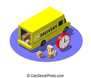 Express delivery service concept with yellow van and cardboard parcels. Modern isometric vector illustration