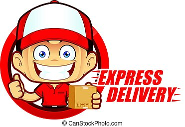 Clipart picture of a express delivery service courier cartoon character