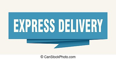 express delivery sign. express delivery paper origami speech...