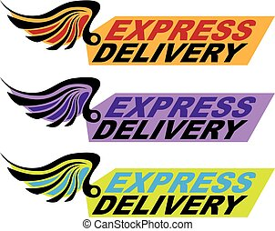Express delivery sign with a wing