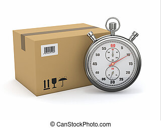 Express delivery. Stopwatch and package on white background....