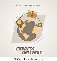 Express Delivery Services. Elements of Trucking. Worldwide Shipping. Icon Delivery vector. Express Delivery of Goods. Delivery Service, Cargo Delivery.