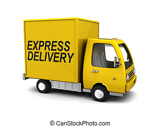 express delivery truck - 3d illustration of yellow truck...
