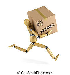 Express Delivery - Wooden mannequin rushing an express ...