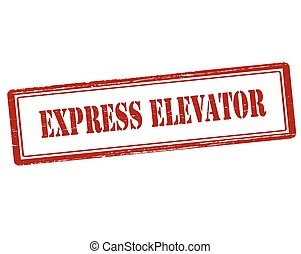 Express elevator - Rubber stamp with text express elevator...