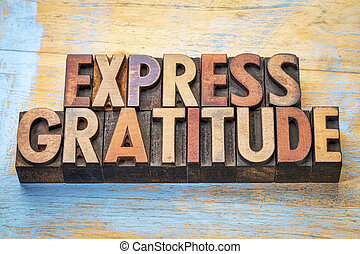 express gratitude word abstract in wood type - express...
