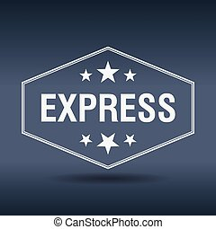 express hexagonal white vintage retro style label