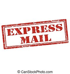 Express Mail-stamp - Grunge rubber stamp with text Express...