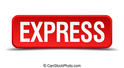 Express red 3d square button isolated on white background