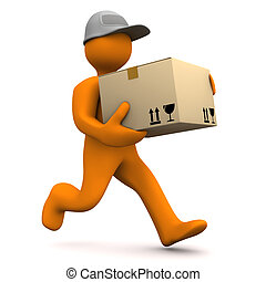 Orange cartoon characters runs with big parcel. White background.