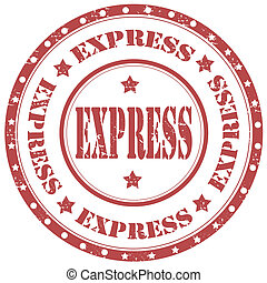 Express-stamp - Grunge rubber stamp with text Express,vector...