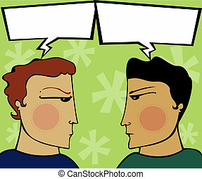 Two guys have a heated discussion - arguing with empty speech bubbles (for you to fill)