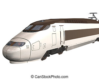 Express Train - Computer image, 3D express train,isolated...