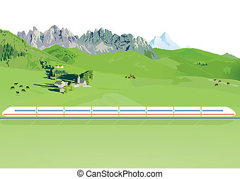 Express train in mountain - Express train in a mountain...