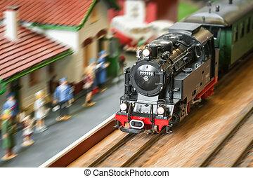 express train - model railroad steam locomotive (with fake...