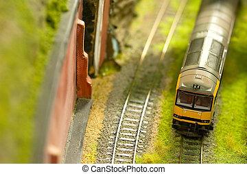 express train - miniature express train on a model railroad...