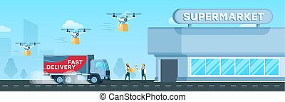 Express Truck, Air Drone Delivery to Supermarket