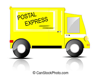 Express truck on white background