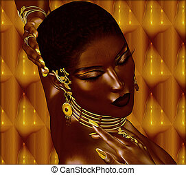 African woman wearing gold jewelry