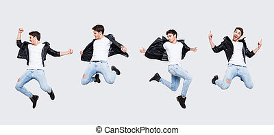 expressar, colagem, felicidade, funky, roupas, fundo, fresco, quadro, divertimento, pose, concept., diferente, casual, engraçado, gritando, tendo, punk, corpo inteiro, alegria, isolado, desgastar, alegre, homem saltando, branca