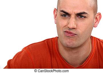 expressief, man, pouting