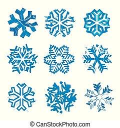 expressif, grunge, snowflakes.