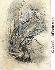 expressif, métamorphose, -, dessin