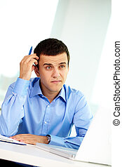 Expressing doubt - Portrait of pensive businessman thinking ...