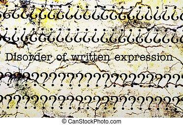 expression, écrit, désordre