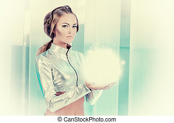 expression - Beautiful young woman in silver latex costume...