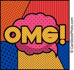 expression bubble with omg pop art style vector illustration...