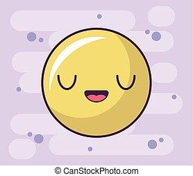 expression circle kawaii style, emoticon