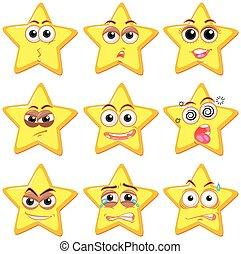 expression, ensemble, étoile, facial