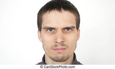 expression., fâché, mal, dramatique, closeup, fond, sérieux, blanc, yeux, homme
