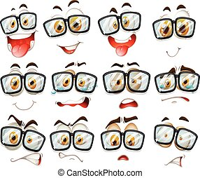 expression, facial, lunettes