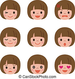 expression faciale, de, les, girl