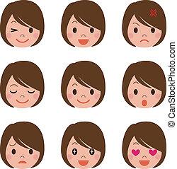 expression, femme, facial