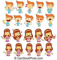 expression, girl, sentiment, différent, emoji, garçon