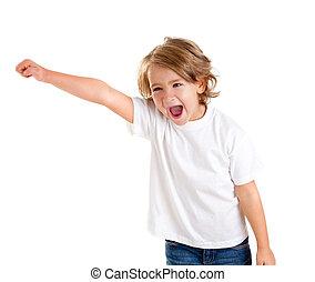 expression, haut, main, heureux, crier, enfants, gosse