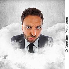 expression, homme affaires, nuages, jeune, indécision