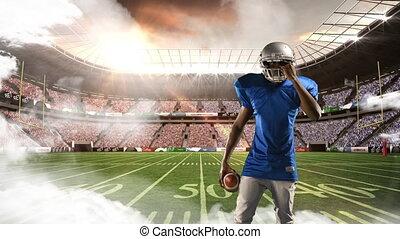 expression, joueur, football, sérieux, américain