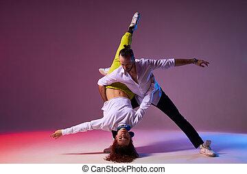 expression., latino , δίνω παράσταση , όμορφος , ζευγάρι , χορεύω