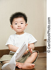 Expression of Asian toddler
