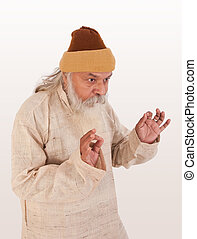 Expression of old indian man