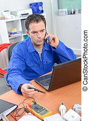 expression, ouvrier, contemplatif, téléphone