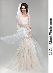 expression., positiv, emotions., prächtig, lächeln, braut, in, windig, heiraten kleid