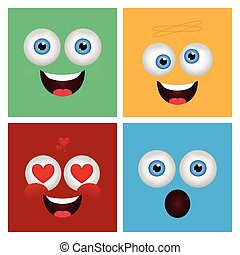 Expression - Set of abstract facial expressions on colored...