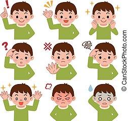 Expression set of boy