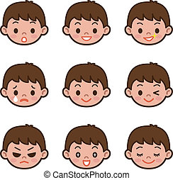 Expression set of boy