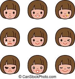 Expression set of girl